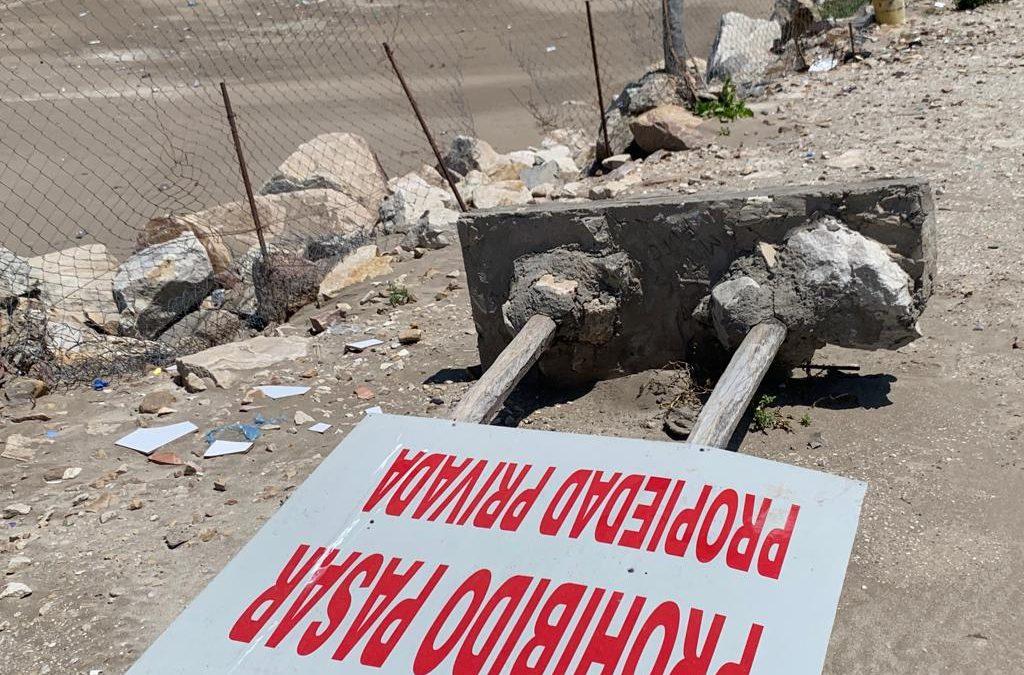 OSSE convocó a la Policía por rotura de cartelería y alambrado en la zona del muelle del Emisario Submarino